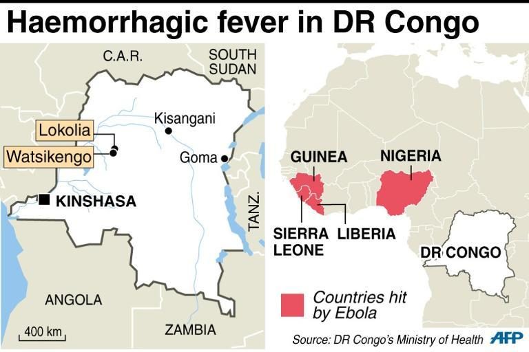 Map showing two cities in DR Congo hit by an epidemic of haemorrhagic fever