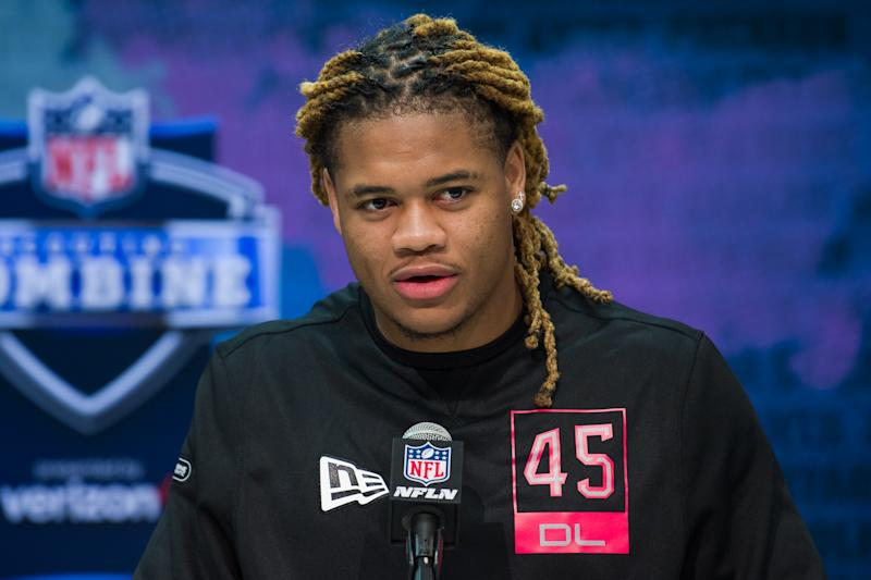 Former Ohio State defensive lineman Chase Young answers questions from the media during the NFL scouting combine on Thursday in Indianapolis. (Photo by Zach Bolinger/Icon Sportswire via Getty Images)