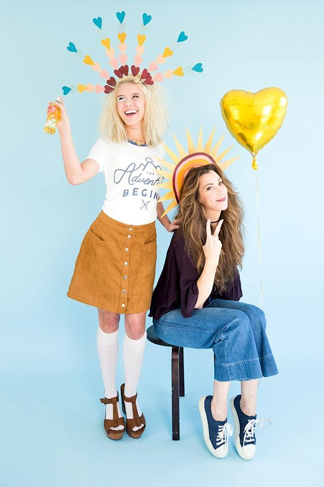 """<p>This easy last-minute look lets you and your sis channel your inner love and sunshine, using clothes you already own.</p><p><strong>Get the tutorial at <a href=""""https://thehousethatlarsbuilt.com/2016/10/3-last-minute-diy-costumes-from-your-craft-closet.html/"""" target=""""_blank"""">The House That Lars Built</a>. </strong></p><p><strong><a class=""""body-btn-link"""" href=""""https://www.amazon.com/Revlon-Soft-Touch-Headbrands-Count/dp/B01F8SRBK0?tag=syn-yahoo-20&ascsubtag=%5Bartid%7C10050.g.21530121%5Bsrc%7Cyahoo-us"""" target=""""_blank"""">SHOP BENDABLE HEADBANDS</a><br></strong></p>"""
