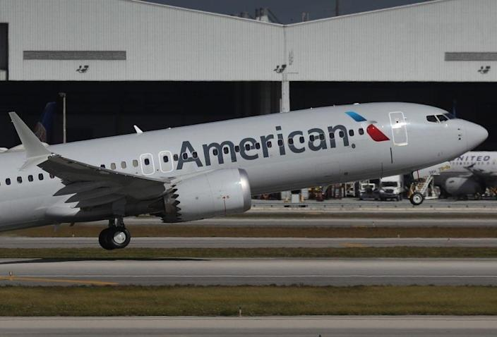 American Airlines flight 718, a Boeing 737 Max, takes of from Miami International Airport on its way to New York on December 29, 2020 in Miami, Florida. (Photo by Joe Raedle/Getty Images)