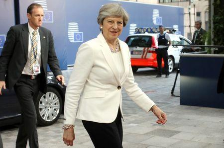 British Prime Minister Theresa May arrives at the EU summit in Brussels, Belgium June 23, 2017. REUTERS/Olivier Matthys/Pool