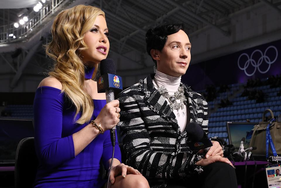 <p>Figure skating announcers Tara Lipinski and Johnny Weir prepare for the start of the Pair Skating Short Program on day five of the PyeongChang 2018 Winter Olympics on Feb. 14, 2018 in South Korea. (Photo by Jamie Squire/Getty Images) </p>