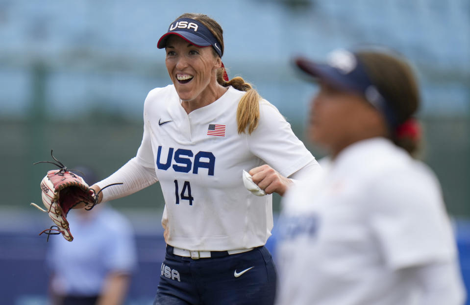 United States' Monica Abbott celebrates after defeating Canada in their softball game at the 2020 Summer Olympics, Thursday, July 22, 2021, in Fukushima, Japan. (AP Photo/Jae C. Hong)