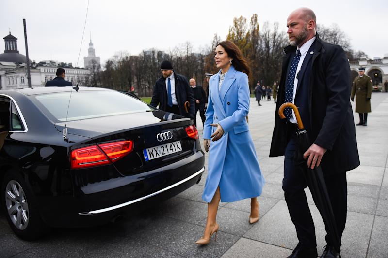 Princess Mary walks in Poland in blue coat