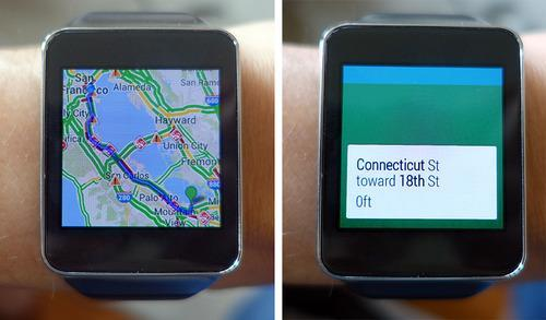 Watches displaying Google maps and directions
