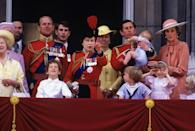 <p>During the Trooping the Colour ceremony, Queen Elizabeth II gathers with family: the Queen Mother, Prince Michael of Kent, Prince Philip, Lord Nicholas Windsor, Prince Edward, Princess Anne, Prince Charles, Prince Harry, Princess Diana, and Prince William. </p>
