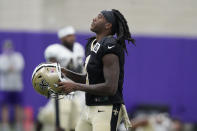 New Orleans Saints wide receiver Marquez Callaway (1) walks the field during NFL football practice in Fort Worth, Texas, Wednesday, Sept. 15, 2021. (AP Photo/LM Otero)