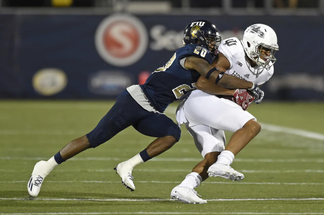 Emmanuel Lubin (L) had 86 tackles in his FIU career. (Photo by Samuel Lewis/Icon Sportswire via Getty Images)