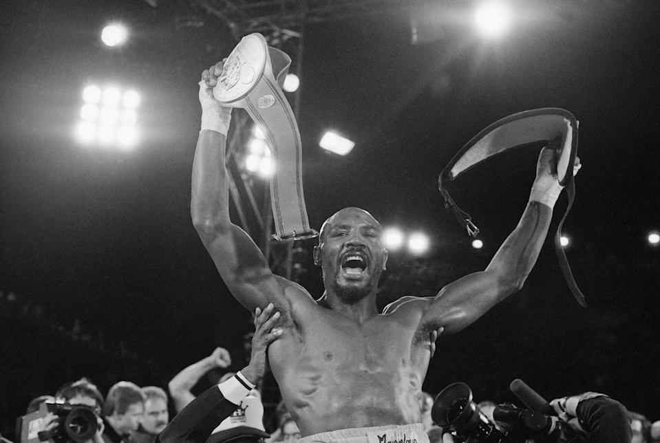 Middleweight Champion Marvelous Marvin Hagler celebrates his unanimous decision victory over Roberto Duran on Thursday, Nov. 11, 1983 in Las Vegas. (AP Photo)