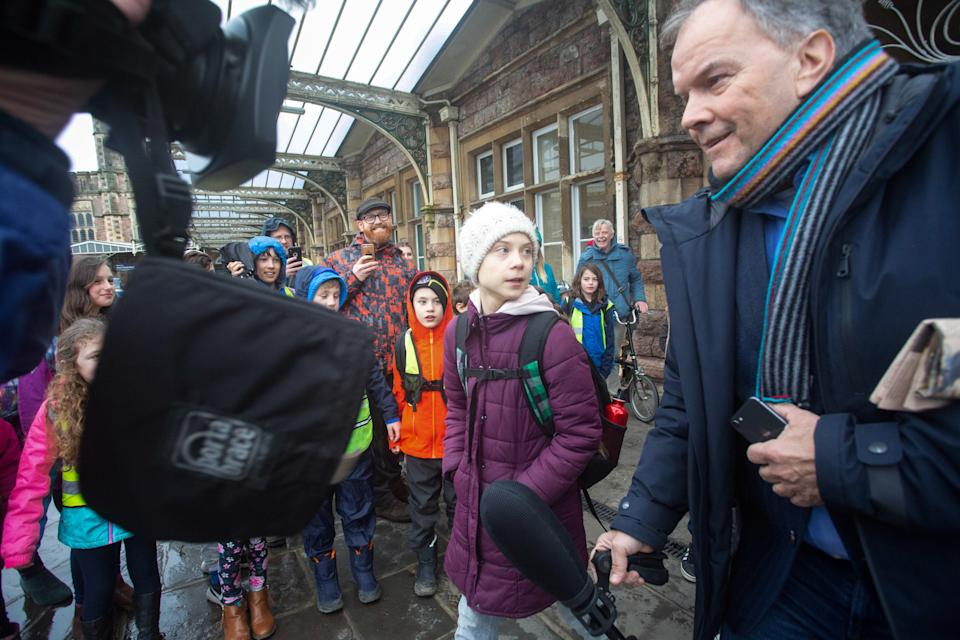 Climate campaigner Greta Thunberg in Bristol  shortly before addressing thousands of activists at a climate change event in Bristol, (SWNS)