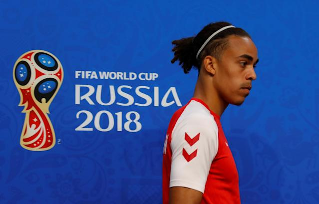 Soccer Football - World Cup - Denmark Press Conference - Samara Arena, Samara, Russia - June 20, 2018 Denmark's Yussuf Poulsen during the press conference REUTERS/David Gray