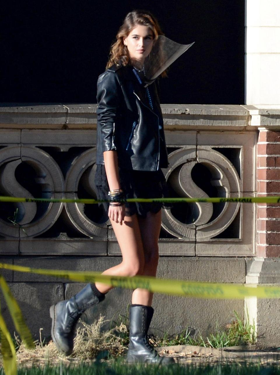 <p>Kaia Gerber is seen for the first time on the set of <em>American Horror Story</em> in downtown L.A. on July 28.</p>