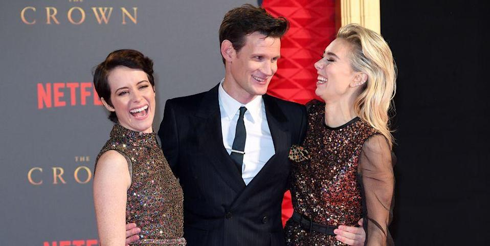 """<p>Claire Foy gushed about her costars Matt Smith and Vanessa Kirby in an interview with <a href=""""http://metro.co.uk/2017/12/07/crowns-claire-foy-vanessa-kirby-celebrated-last-day-filming-disco-sounds-incredible-7140475/"""" rel=""""nofollow noopener"""" target=""""_blank"""" data-ylk=""""slk:Metro.co.uk"""" class=""""link rapid-noclick-resp"""">Metro.co.uk</a>: """"On our last day, the amazing [cinematographer] Adriano Goldman had asked all the [electricians] to put multi-colored lights in all the lights around Buckingham Palace. So when me and Vanessa Kirby finished it turned into a disco and everyone was like 'Woooo.'""""</p>"""