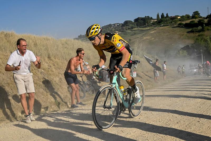 Belgian Wout Van Aert of Team JumboVisma pictured in action during the Strade Bianche one day cycling race 184km men from and to Siena Italy Saturday 01 August 2020 BELGA PHOTO DIRK WAEM Photo by DIRK WAEMBELGA MAGAFP via Getty Images