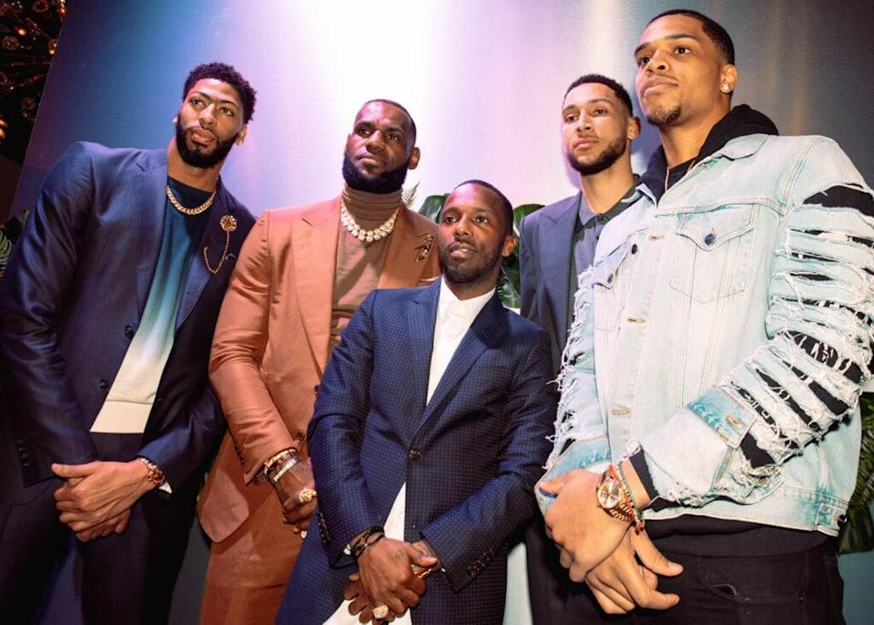 CHARLOTTE, NC – FEBRUARY 16: (L-R) Anthony Davis, LeBron James, Rich Paul, Ben Simmons and Miles Bridges attend the Klutch 2019 All Star Weekend Dinner Presented by Remy Martin and hosted by Klutch Sports Group at 5Church on February 16, 2019 in Charlotte, North Carolina. (Photo by Dominique Oliveto/Getty Images for Klutch Sports Group 2019 All Star Weekend) (Photo by Dominique Oliveto/Getty Images for Klutch Sports Group 2019 All Star Weekend)