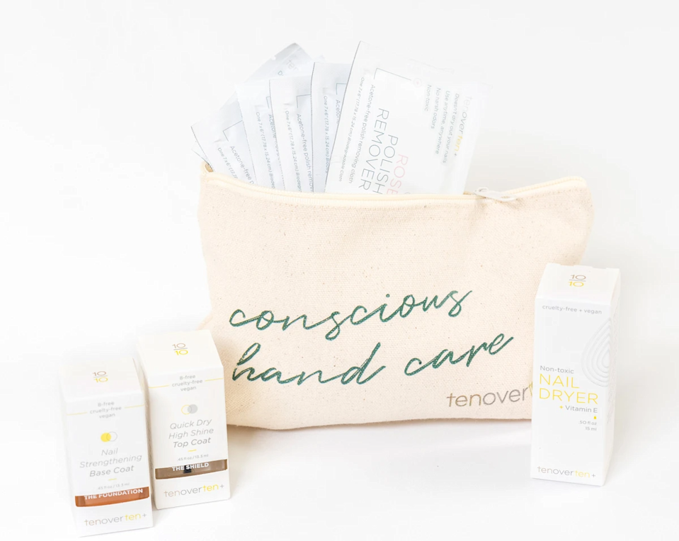 """<h3>Tenoverten The Complete Mani Set</h3><br>This clean and cruelty-free kit includes non-toxic setting drops to speed up dry time, a nail strengthening base coat, high shine topcoat, and rose polish remover and hand cleansing wipes, all in a limited edition beauty pouch.<br><br><strong>Tenoverten</strong> The Complete Mani Set, $, available at <a href=""""https://go.skimresources.com/?id=30283X879131&url=https%3A%2F%2Ftenoverten.com%2Fcollections%2Fgift-sets%2Fproducts%2Fcopy-of-at-home-nail-care-kit-base-top-remover-nail-dryer-and-cuticle-oil-1"""" rel=""""nofollow noopener"""" target=""""_blank"""" data-ylk=""""slk:Tenoverten"""" class=""""link rapid-noclick-resp"""">Tenoverten</a>"""