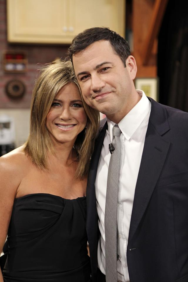 <p>How much closer to someone can you get than officiating their wedding ceremony? That's how close Jimmy Kimmel is to Aniston. In fact, Aniston even had a mini <i>Friends</i> reunion with her co-stars Courteney Cox and Lisa Kudrow in a sketch for his late-night show in August 2014. It was something that fans had been wanting for <i>years</i>. Kimmel and his wife, Molly McNearney, also joined Jen and Justin on their honeymoon. They must be really fun vacation buddies! (Photo: Randy Holmes/ABC via Getty Images) </p>