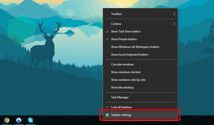 how to hide the taskbar in Windows - Settings