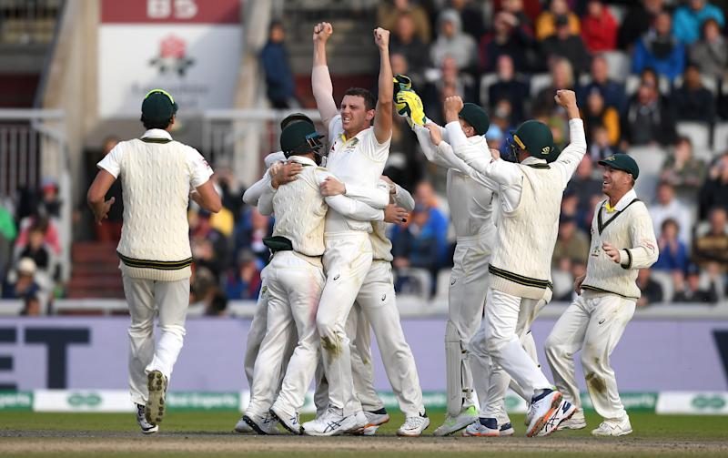 MANCHESTER, ENGLAND - SEPTEMBER 08: Josh Hazlewood of Australia celebrates taking the final wicket of Craig Overton of England to win the 4th Specsavers Ashes Test match between England and Australia at Old Trafford on September 08, 2019 in Manchester, England. (Photo by Gareth Copley/Getty Images)