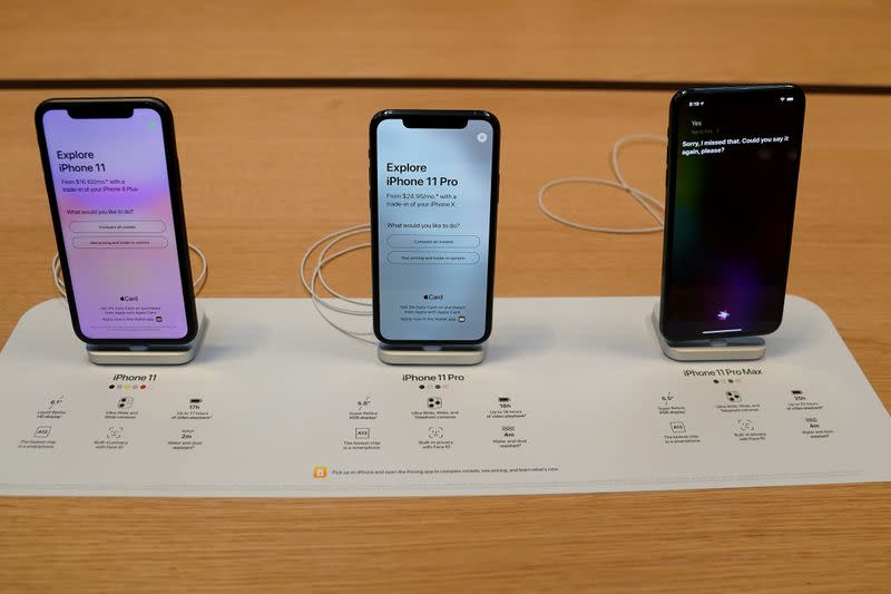 FILE PHOTO: Apple iPhone 11's are pictured inside of the Apple Store on Fifth Ave in the Manhattan borough of New York