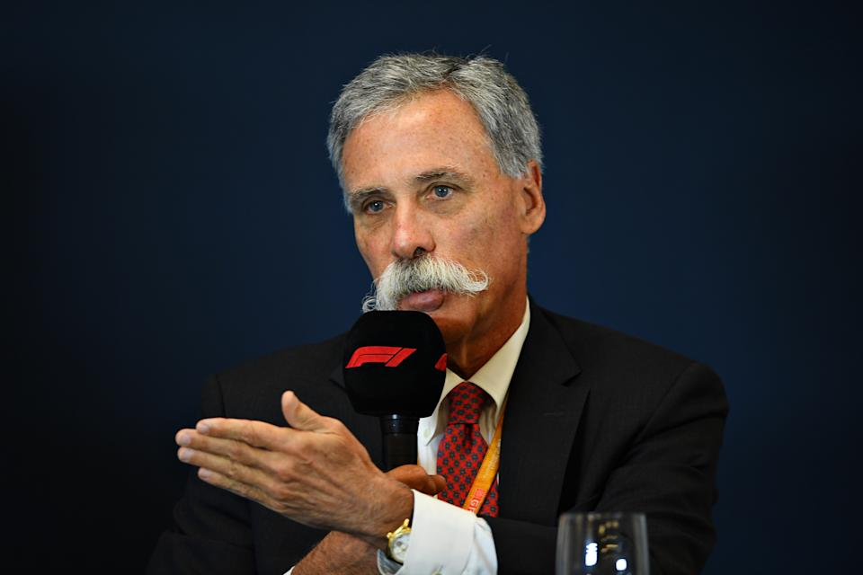 AUSTIN, TEXAS - OCTOBER 31: Chase Carey, CEO and Executive Chairman of the Formula One Group, talks in a press conference to announce the rules for the 2021 Formula One season during previews ahead of the F1 Grand Prix of USA at Circuit of The Americas on October 31, 2019 in Austin, Texas. (Photo by Clive Mason/Getty Images)