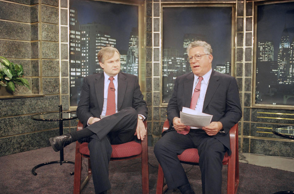 Players Association head Donald Fehr, left, and Major League Baseball owners? chief negotiator Richard Ravitch prepare to go the air during a live interview on CNN?s ?Larry King Live? from the cable network?s in New York studio, Thursday, August 11, 1994. Though cracks appeared in the owners? solidarity, players finished their games, packed their bags and prepared for a strike on Thursday at night that could wipe out what?s left of an extraordinary season. (AP Photo/David Karp)