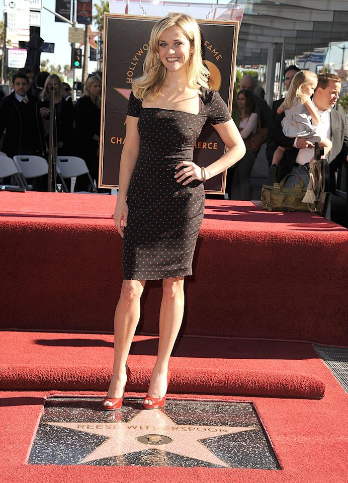 """<a href=""""http://movies.yahoo.com/movie/contributor/1800018812"""">Reese Witherspoon</a> attends her Hollywood Walk of Fame star ceremony on December 1, 2010."""