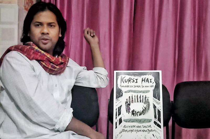 Shiraz Hussain is a resistance artist who believes art needs to make people uncomfortable and question the status quo   (Image: News18/Rakhi Bose)