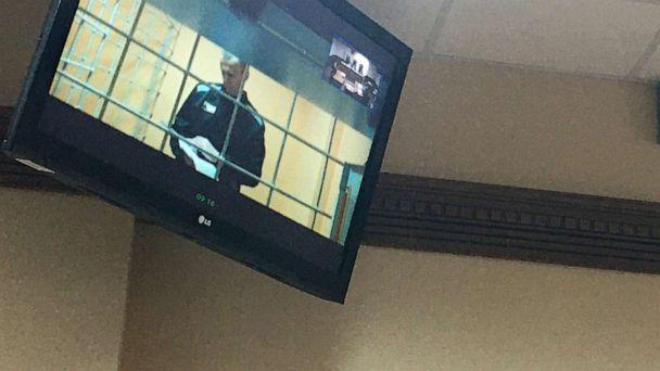 PHOTO: Jailed opposition activist Alexei Navalny is pictured on a video screen in the Vladimir Region Court as he joins a hearing into his appeal against a ruling by the Petushki District Court, on Sept. 23, 2021. (Maria Pantyukhina/ZUMA Press via Newscom)