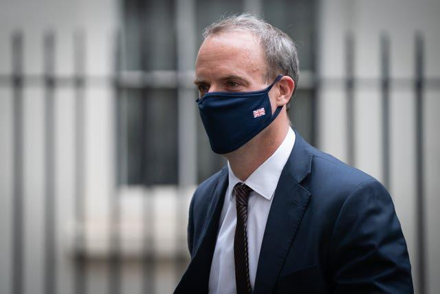 Foreign Secretary Dominic Raab will speak with G7 foreign ministers on Thursday
