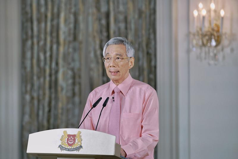 PM Lee Hsien Loong at the recording of his remarks on the COVID-19 outbreak televised on 12 March, 2020. (PHOTO: Lee Hsien Loong/PMO)
