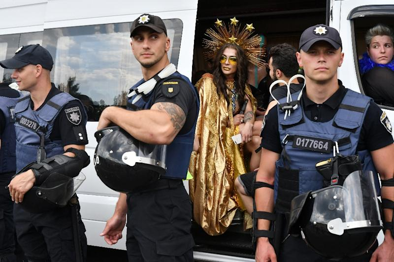 The police presence was high but there were no major incidents during the gay pride march (AFP Photo/Genya SAVILOV)