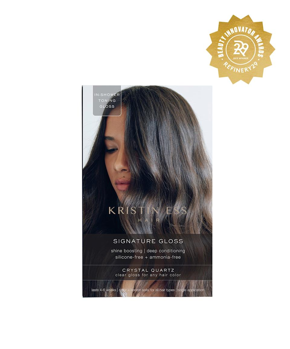 """<h2>Kristin Ess In-Shower Gloss</h2> <br>Changing your hair color is cute, but upkeep is expensive. To save a few coins, pick up a few boxes of this in-shower gloss and stash them away for when your hair color looks dull. By the time you perform your in-shower rendition to Lizzo's <em>Truth Hurts, </em>your hair will look like you just left the salon chair.<br><br><strong>Kristin Ess</strong> In-Shower Gloss, $, available at <a href=""""https://www.target.com/p/kristin-ess-hair-signature-gloss-temporary-hair-color-crystal-quartz/-/A-75564250#locklink"""" rel=""""nofollow noopener"""" target=""""_blank"""" data-ylk=""""slk:Target"""" class=""""link rapid-noclick-resp"""">Target</a><br>"""