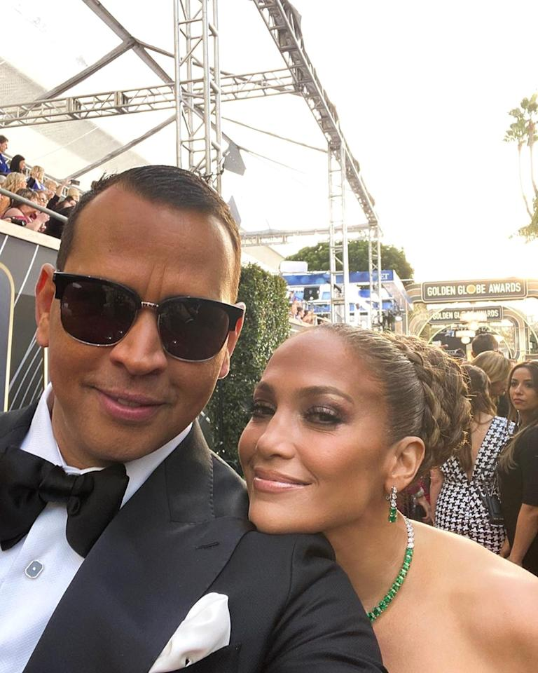 "The pair made sure to snap a smiling selfie on the red carpet ahead of the show. ""Head of @jlo security, reporting for red carpet duty!"" Rodriguez <a href=""https://www.instagram.com/p/B69aAdwgZEz/"">joked</a>."