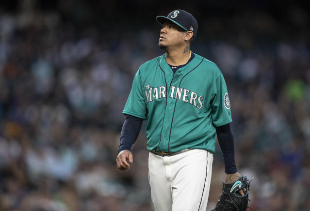 Seattle Mariners starting pitcher Felix Hernandez walks off the field during a baseball game against the Colorado Rockies, Friday, July 6, 2018, in Seattle. The Rockies won 7-1. (AP Photo/Stephen Brashear)