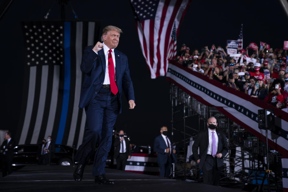 President Donald Trump arrives to speak to a campaign rally at Middle Georgia Regional Airport on Oct. 16, 2020, in Macon, Ga. (Evan Vucci/AP)