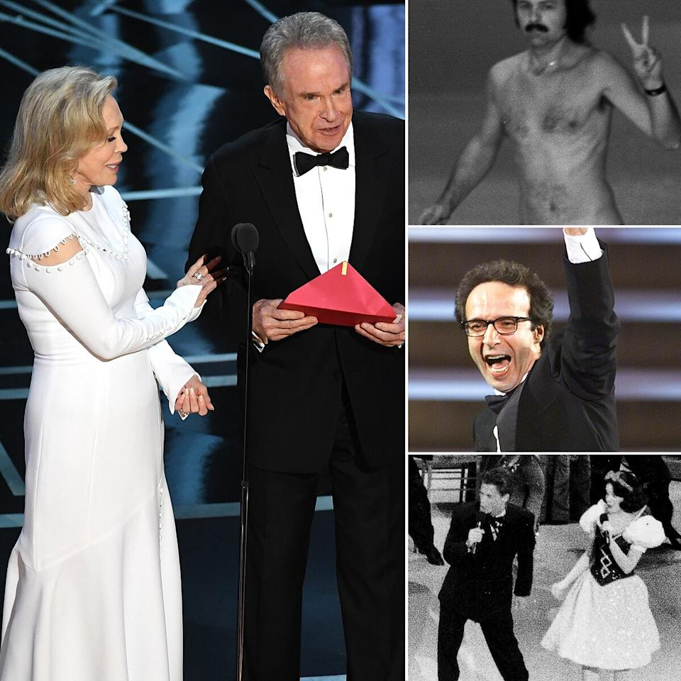Faye Dunaway and Warren Beatty reading the wrong winner at 2017's ceremony was named the most jaw-dropping Oscars moment of all time, beating out similarly surprising turns from a streaker, a seat-walking Roberto Beningni and Rob Lowe's duet with Snow White.