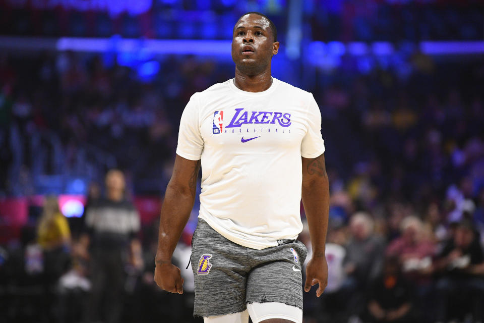 Los Angeles Lakers Dion Waiters works out before a NBA game.