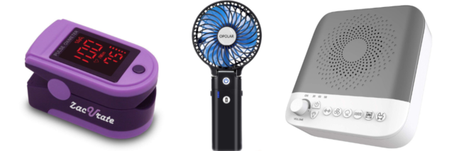 pulse oximeter, portable handheld fan, and white noise sound machine