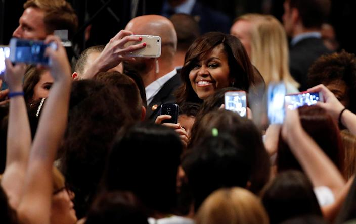 """<p>U.S. first lady Michelle Obama attends a """"Let Girls Learn"""" event, to promote girls' education, in Madrid, Spain, June 30, 2016. (REUTERS/Andrea Comas) </p>"""