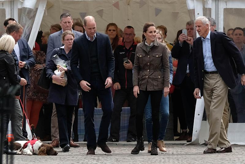 Kate Middleton wore an olive green jacket, black skinny jeans and a pair of hiking boots for the walkabout in Cumbria