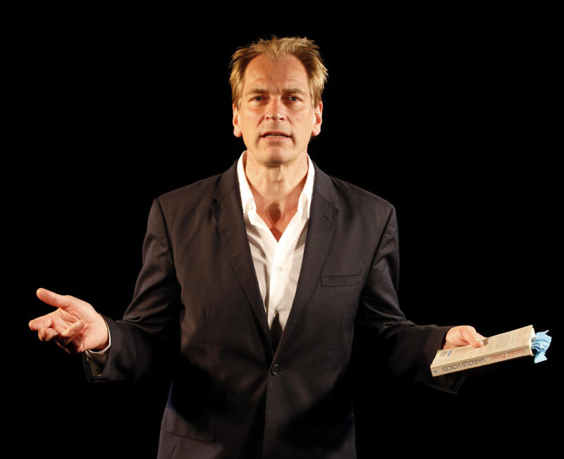 """This theater image released by Shirley Herz & Associates shows Julian Sands in """"A Celebration of Harold Pinter,"""" directed by John Malkovich, currently performing off-Broadway at the Irish Repertory Theatre in New York.  (AP Photo/Shirley Herz & Associates; Carol Rosegg)"""