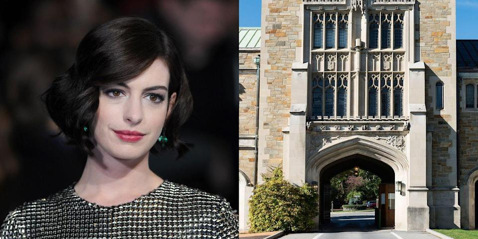 """<p><strong>Vassar College & NYU</strong></p><p>Hathaway spent several semesters studying as an English major and women's studies minor at Vassar College before transferring to New York University's Gallatin School of Individualized Study. She has referred to her college enrollment as one of her best decisions because she enjoyed being with others who were trying to """"grow up.""""</p>"""