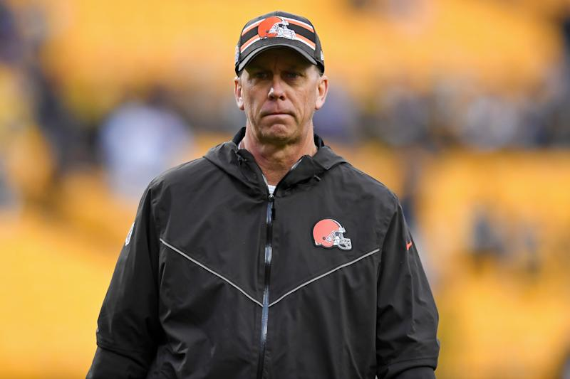 PITTSBURGH, PA - DECEMBER 1, 2019: Offensive coordinator Todd Monken of the Cleveland Browns on the field prior to a game against the Pittsburgh Steelers on December 1, 2019 at Heinz Field in Pittsburgh, Pennsylvania. Pittsburgh won 20-13. (Photo by: 2019 Nick Cammett/Diamond Images via Getty Images)