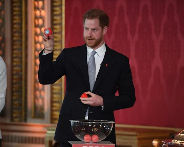 Prince Harry oversaw the Rugby League 2021 World Cup draw in his first public engagement since the bombshell announcement of his and wife Meghan quitting as full-time royals (AFP Photo/Jeremy Selwyn)