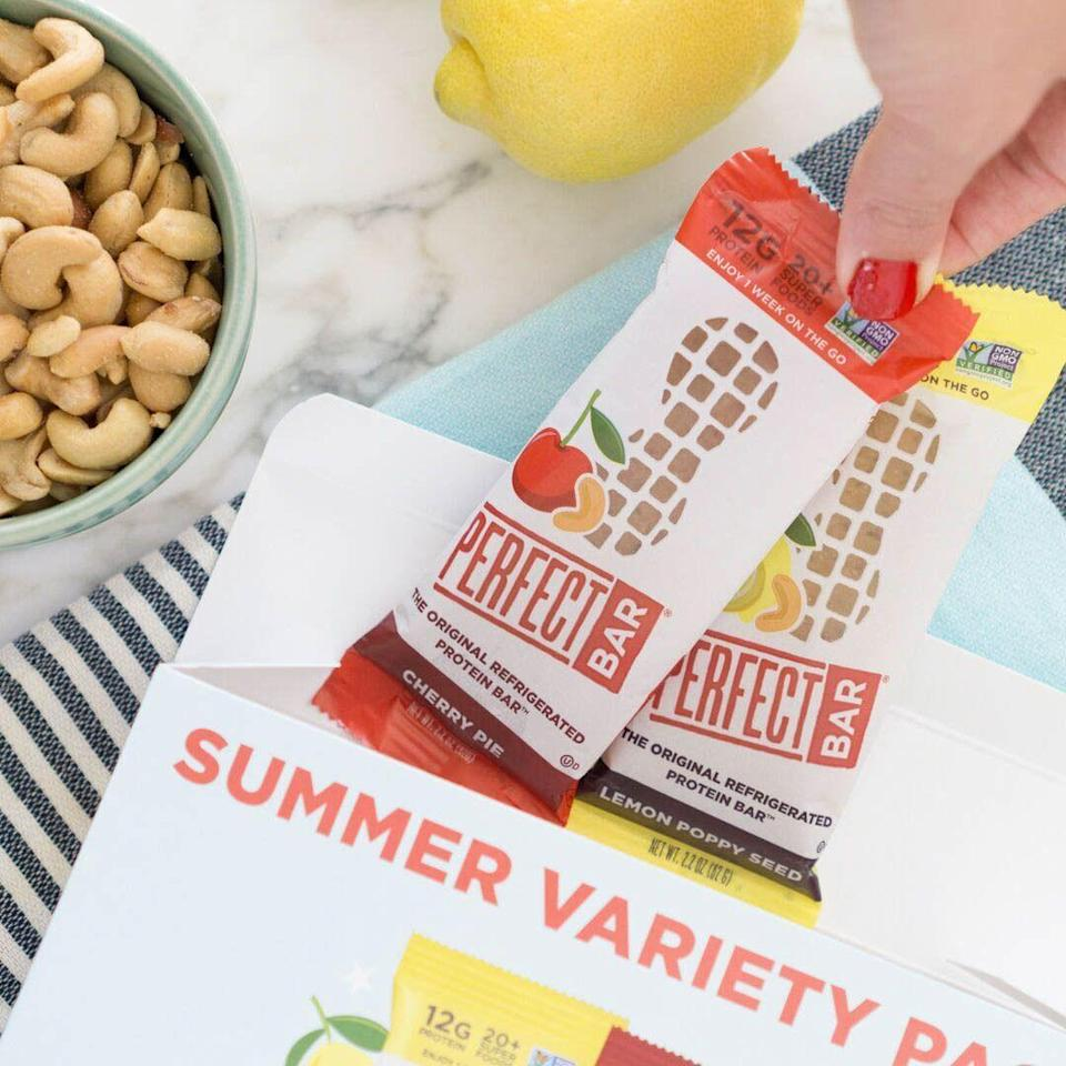 "<p>Those Lemon Poppy Seed and Cherry Pie flavors that launched for the 15th anniversary? They're actually <a href=""https://perfectsnacks.com/products/summer-variety-pack"" rel=""nofollow noopener"" target=""_blank"" data-ylk=""slk:sold together"" class=""link rapid-noclick-resp"">sold together</a> as a summer variety pack—six of each bar. </p>"