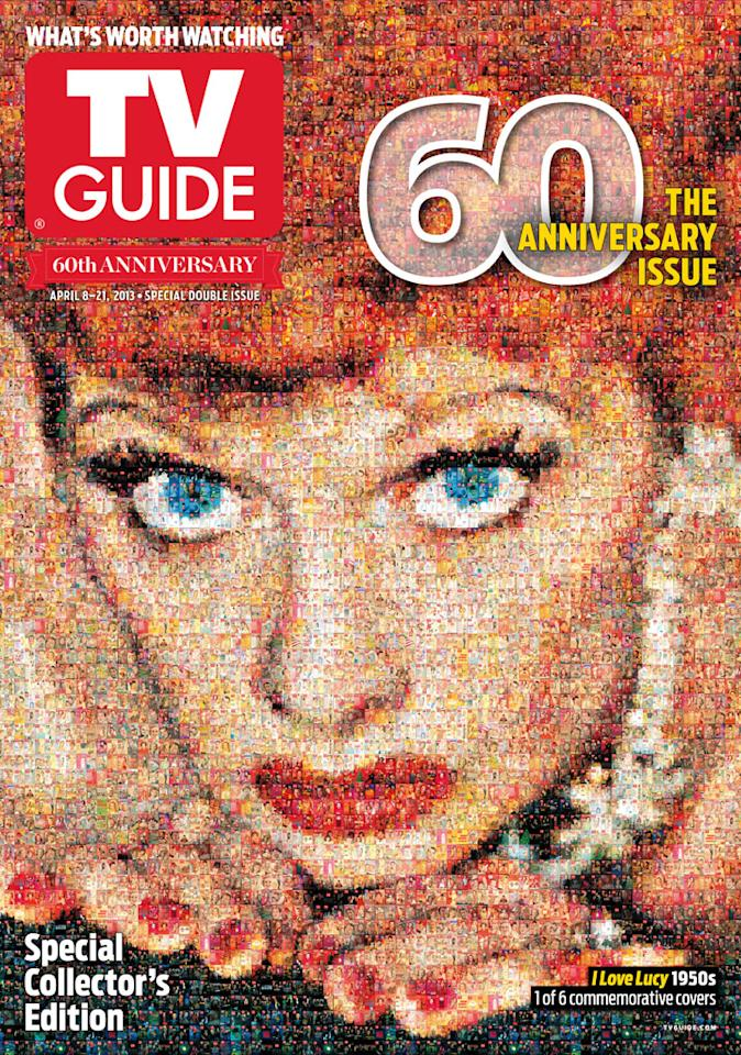"TV Guide 60th Anniversary cover featuring ""I Love Lucy."""