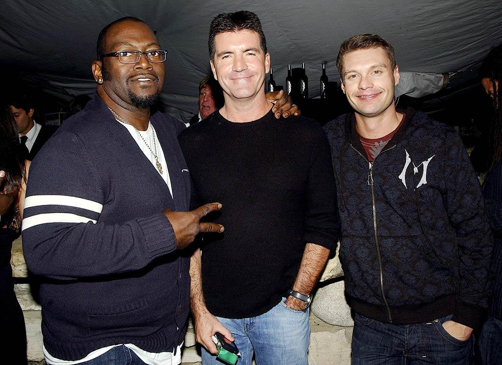 """Although they trade barbs on """"American Idol,"""" Randy Jackson, Simon Cowell, and Ryan Seacrest regularly hang out together at Hollywood events. Mike Guastella/<a href=""""http://www.wireimage.com"""" target=""""new"""">WireImage.com</a> - February 21, 2008"""