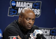FILE - Florida State head coach Leonard Hamilton listens to a question during a news conference at the NCAA men's college basketball tournament in Hartford, Conn., in this Friday, March 22, 2019, file photo. Hamilton guided the Seminoles to three straight NCAA Tournament appearances and an ACC regular-season title in 2019-20 as part of a 26-5 season. With a new roster, the No. 21 Seminoles face a tough challenge to claim the top spot in the Atlantic Coast Conference again. (AP Photo/Elise Amendola, File)