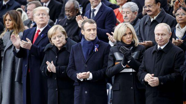 PHOTO: First Lady Melania Trump, President Donald Trump, German Chancellor Angela Merkel, French President Emmanuel Macron and his wife Brigitte Macron and Russian President Vladimir Putin attend a ceremony at the Arc de Triomphe in Paris, Nov. 11, 2018. (rancois Mori/AFP/Getty Images)